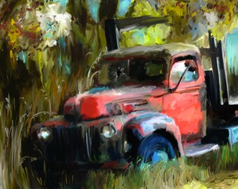 old red truck art print, old red farm truck, old red truck painting, red farm truck art print, rusty old truck, rusty red truck print,