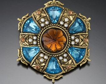 Vintage Aqua & Topaz Glass Pin