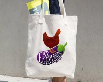 Vegan Tote Bag, Beach Bag, Yoga, Eat Eggplants #govegan