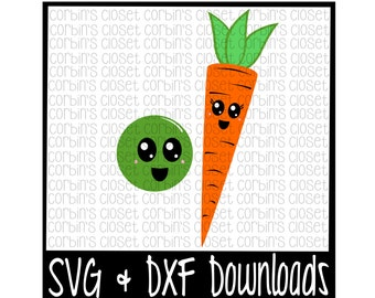 Peas and Carrots Cutting File - DXF & SVG Files - Silhouette Cameo, Cricut