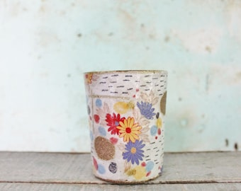 READY TO SHIP Ceramic Stoneware Pottery Beaker Tumbler Cup floral Spotty Texture Australian Coffee Latte