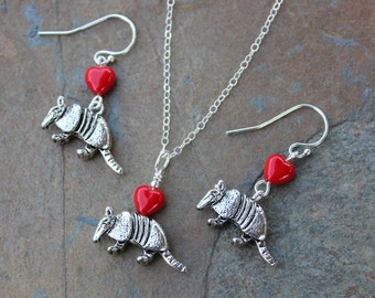 Silver Armadillo necklace and earring set - antiqued animal pendant & red hearts, sterling silver chain and hooks - free shipping USA