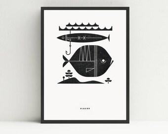 Pisces Letterpress Print