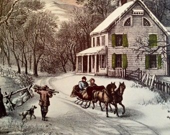 American Homestead Winter 1952 Currier & Ives Print 11 x 15 1800s Book Reprint to Frame