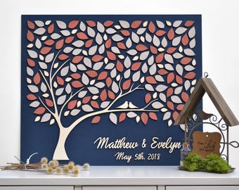 3D CUSTOM Alternative Wedding guest book Love Tree Customizable unique guestbook CORAL leaves Rustic wedding Rustic  wooden Tree of life