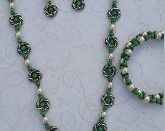 Aventurine Pearl Silver Jewelry Set #28