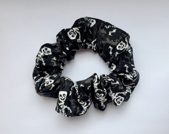 Skeleton scrunchie hair tie, black and white scrunchy, pony tail tie, bun wrap, hair elastic