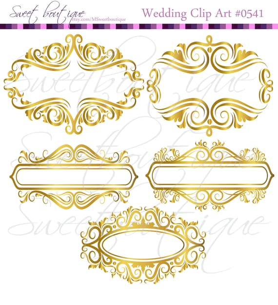 GOLD Floral Frame Ornaments Decoration Graphics Border Vintage