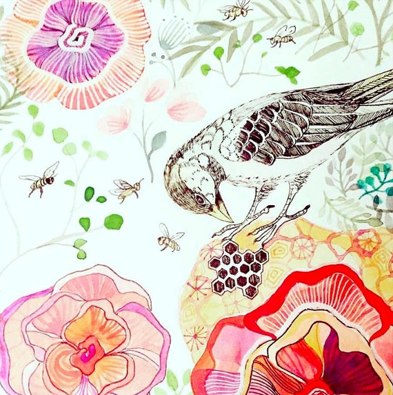 Bird Art Illustration Print Wall Decor for Kids Nursery Decor Painting Watercolor Bees Honeycomb Flowers Wall Art Sparrow
