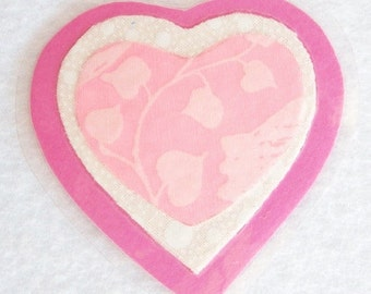 Pink Heart Pin, Fabric Heart Brooch, Pink and White Heart Pin, Laminated Heart Brooch