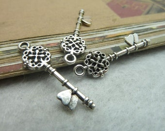 50pcs 10x31mm Antique silver key pendant , key charms Jewelry findings zb0 6804
