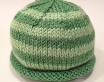 Grass Green + Light Green Color Block Newborn Knit Baby Hat - Handmade - READY TO SHIP