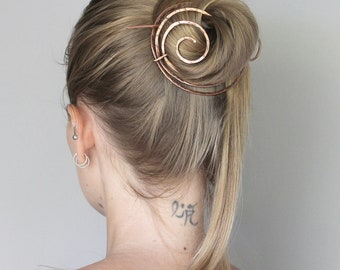 Hammered Scroll Hair Clip Barrette, Unique Hair Accessories for Women, Unusual Hair Bun Holder, Bun Cage, Hair Stick, Womens Gift for Her