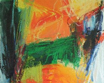 Ausverkauf! Schlick Zaun Original abstrakte Malerei-14 x 16 brillanten Farben, Orange, Waldgrün, gelb