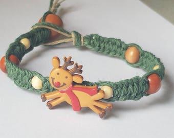 Green hemp reindeer bracelet