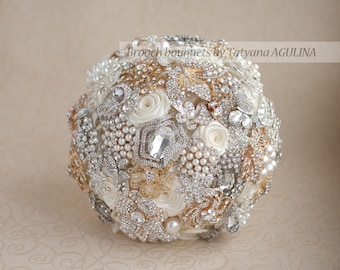 SALE! READY to SHIP! Brooch bouquet.  Ivory, Silver and Gold wedding brooch bouquet, Jeweled Bouquet. Quinceanera keepsake bouquet