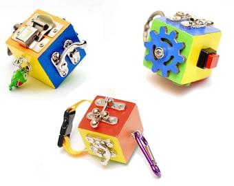 Travel toy set Toddler BUSY CUBE Montessori toy Fidget Busy board Activity board Latch board Sensory board Fine motor skills Educational toy