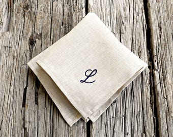 Oatmeal Linen Monogrammed Handkerchief, Natural Color Personalized Pocket Square, Natural Linen Hankerchief, Monogram Pocket Square Hankie