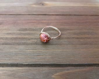 Mexican Fire Opal Wire Wrapped Ring ~ 14K Gold Fill ~ Opal Ring ~ October Birthstone ~ Birthstone Ring ~ Stacking Ring ~ Minimalist Ring