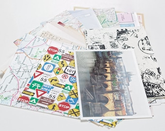 World traveler ephemera scrap pack, paper kit, collage pack, art journal kit