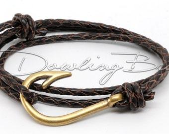 Bronze Fish Hook Bracelet on Chocolate Dark Brown Braided Leather Cord