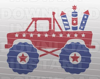 July 4th Monster Truck SVG File,Fireworks SVG File,Patriotic SVG File-Vector Clip Art for Commercial & Personal Use-Cricut,Cameo,Silhouette