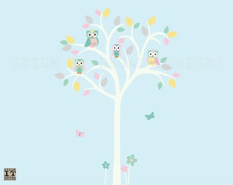 Owl tree wall decal, Owl tree wall sticker, Nursery Wall Decal, Owl Nursery Art, owl wall decal, Tree wall Decal, Pastel Carnival Design