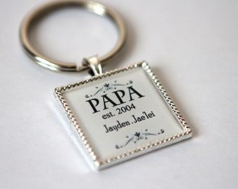 Personalized Fathers Day gift for papa keychain, Personalized fathers gifts, Gift for grandpa New papa ,Dad keychain, Grandpa keychain