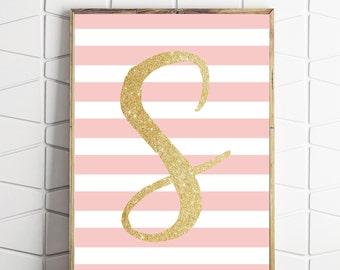 letter S printable, S monogram printable, letter S printable wall art, letter S wall print, printable wall art, nursery wallart