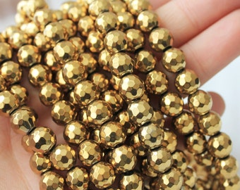 gold hematite, faceted 8mm, gemstone beads, gold beads, shiny gold,