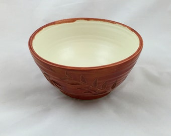 Cinnamon Red Serving Bowl Locust Leaf Design Handmade Pottery by Daisy Friesen