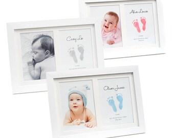 Keepsake Frame with BABYink® Colour Ink-less Print Kit - Non-Toxic, Baby Safe - Handprint   Footprint   Keepsake    Baby Gift