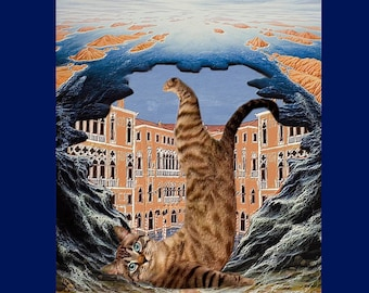 digital creation with cat in frame: the magic of Venice