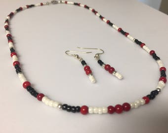 Red, Black and White Necklace and Earring Set