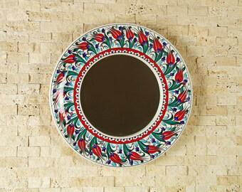 "Handmade Handpainted Turkish Ottoman Ceramic Framed Mirror Floral Pattern 13""(33cm) Diameter"