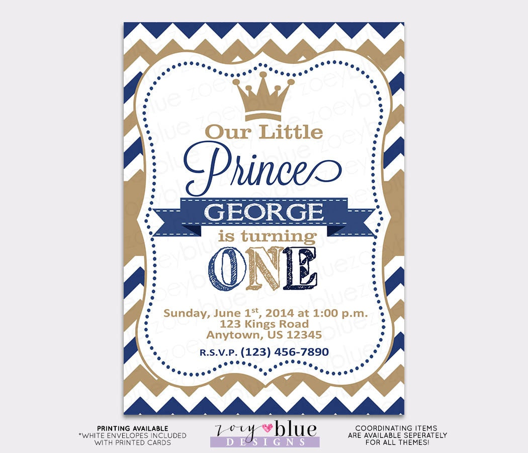 Little Prince Birthday Invitation Vertical Printable - 1st First ...