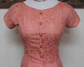 50's Vintage Pink Lace Drop-Waist Evening/Party Dress