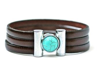 Turquoise Bracelet , Leather Bracelet , Leather Bangle ,  Unisex Jewelry , Mens Bracelet , Mens Jewelry , Amy Fine Design