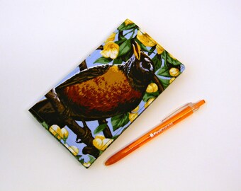 Fabric Duplicate Checkbook Cover with Pen Holder  Robin Bird Fabric Checkbook Holder  Checkbook Register Coupon Holder  Ornithology Gift
