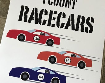 To Go To Sleep I Count Racecars...Not Sheep. Digital Print
