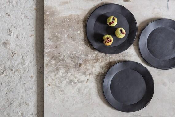 Like this item? & Black Plates Salad PlateDessert Plate Handmade porcelaine
