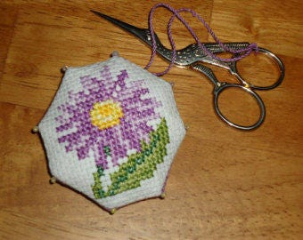 Lavender Aster and Flower Scissor Fob