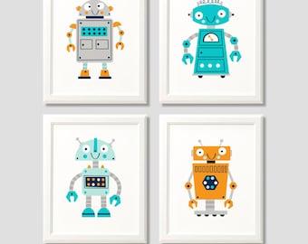 Robot nursery prints, robot print set , boys robot print set, robot art, robot nursery prints, nursery decor, boys bedroom, robot decor