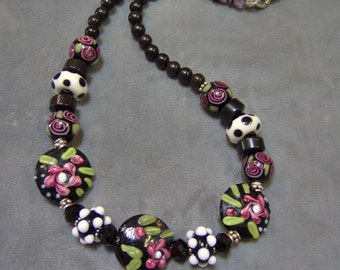 Lampwork Beaded Necklace - Gemstones - Artisan Lampwork Rose Garden Necklace with Sterling Silver Accents, SRAJD, Art Beads