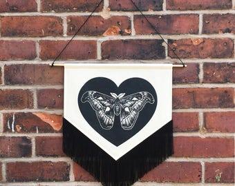 Screen Printed Pointillism Atlas Moth Heart Pennant Wall Hanging