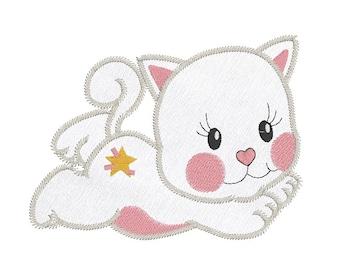 Cuddly Kitten Applique Machine Embroidery Design, Sweet Little Cat Applique Embroidery Design, 3 Sizes, Instant Download, No: JGS00011-2