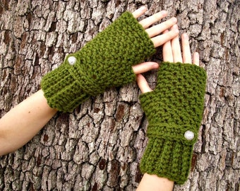 Crocheted Gloves - Olive Green Fingerless Gloves Green Hand Warmers Green Mittens Green Gloves Womens Gloves - Womens Accessories