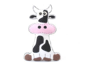 Cow Sewing Pattern, Plush Cow Sewing Pattern, Felt Cow Pattern, Holstein, Black and White, Instant Download PDF, Cow Plushie, Cow Softie