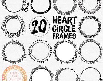 Heart Borders, Valentine Circle Frames, Heart ClipArt, Wedding Monogram Frame, Printable, Transparent PNG Graphic supplies, Digital Stamps