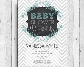 Printable Chevron Baby Shower 5x7 Invitation Boy or Girl - Print at home DIY
